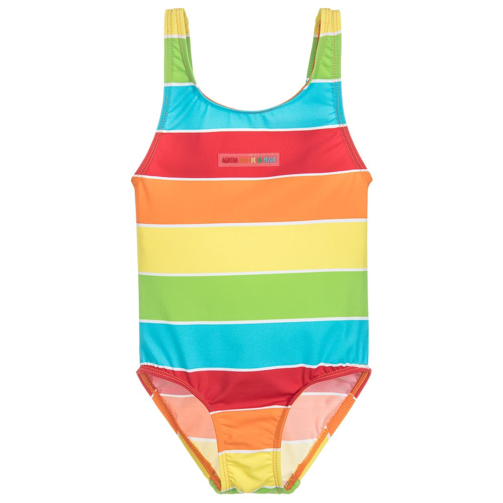 0d5754955d0 Agatha Ruiz de la Prada - Girls Striped Swimsuit | Childrensalon Outlet