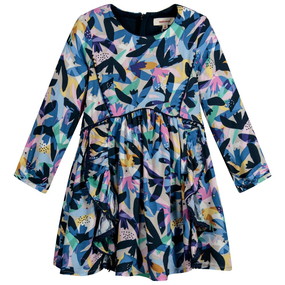 e74b6ad9f3d29 ... Catimini - Girls Blue Floral Crêpe Dress | Childrensalon ...