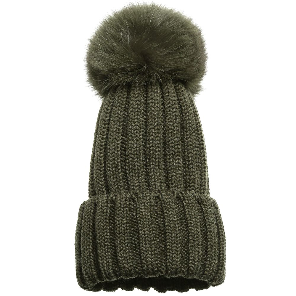 10d7951b56e95a Catya - Olive Green Merino Hat with Fur Pom-Pom | Childrensalon Outlet