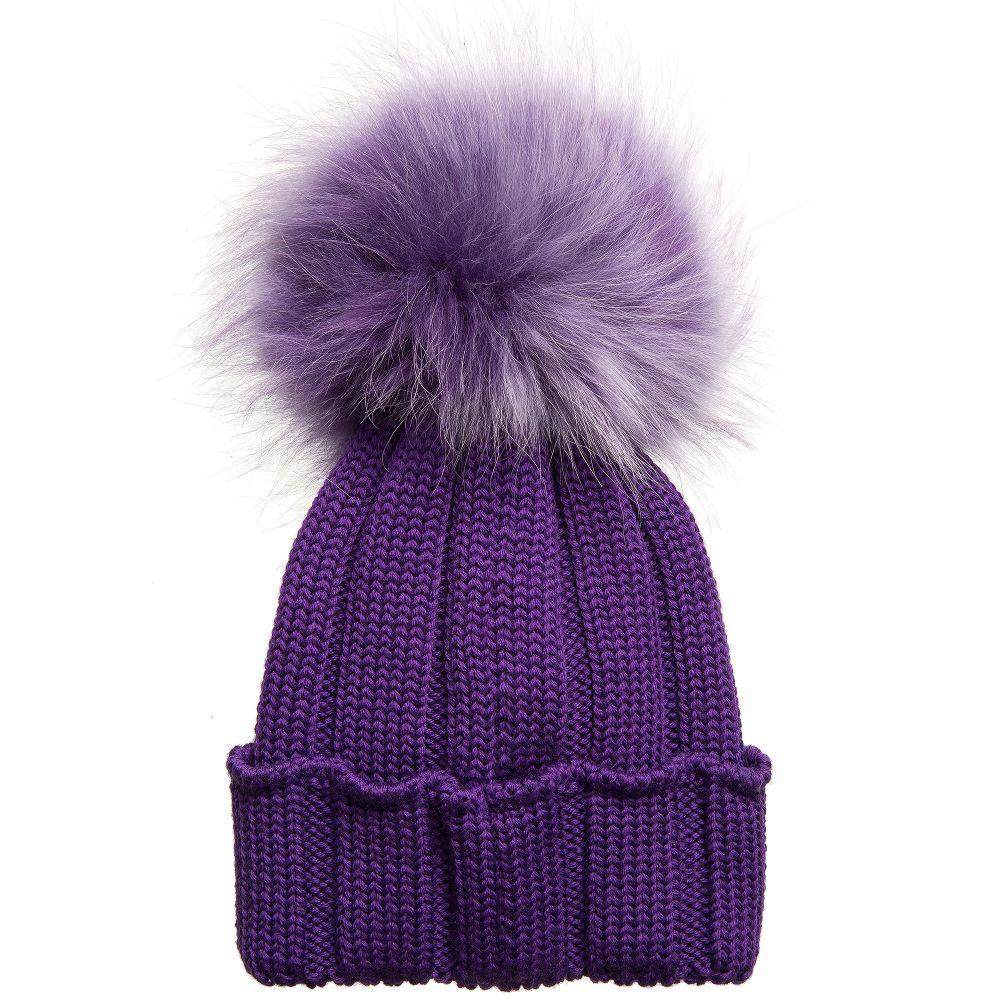 Catya - Purple Merino Pom-Pom Hat  3a34b57f1ad
