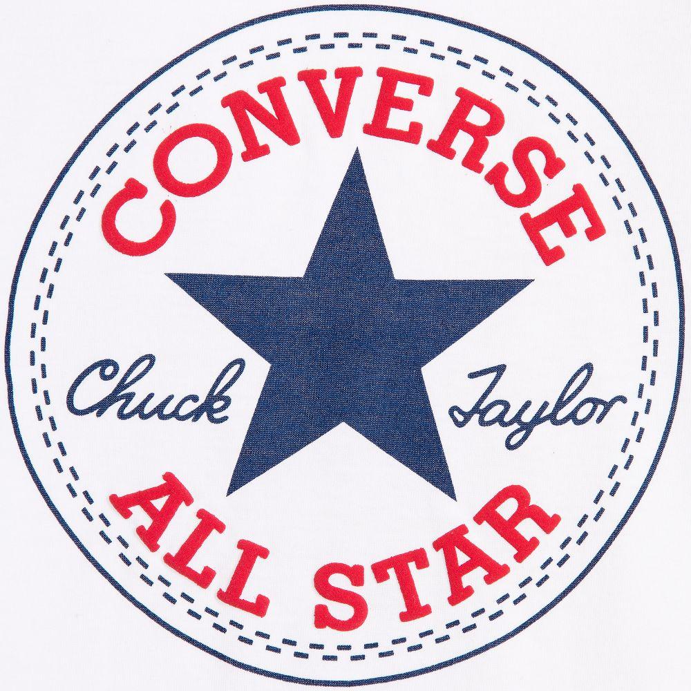 carga Comprimido Partido  Converse - White Cotton T-Shirt with All Star Logo | Childrensalon Outlet