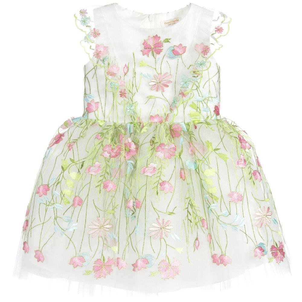 b0c56ed3628 David Charles - Girls Embroidered Flower Dress