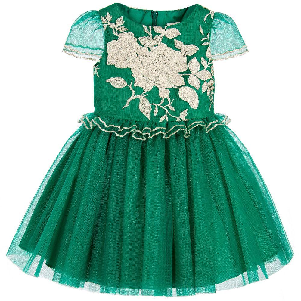 fb7ae46da David Charles - Girls Emerald Green Dress   Childrensalon Outlet