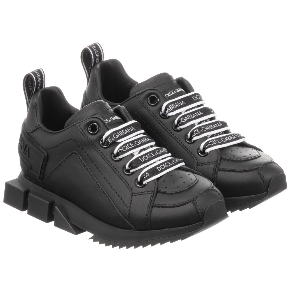 Black Leather Logo Trainers