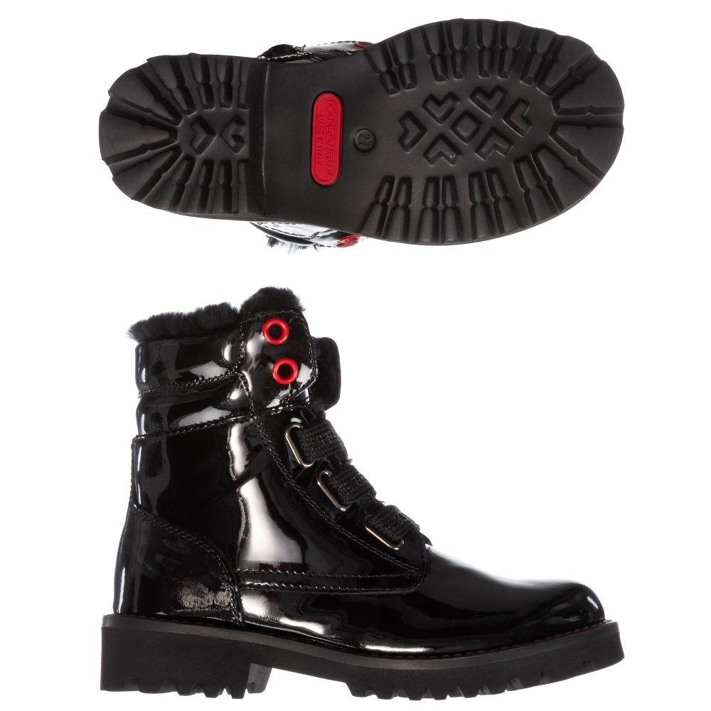 Dolce Gabbana Black Patent Leather Boots Childrensalon Outlet