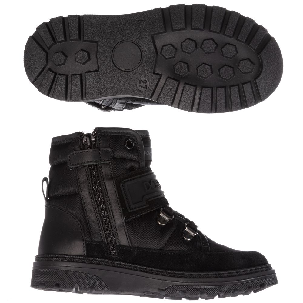 Boys Black Nylon \u0026 Suede Boots