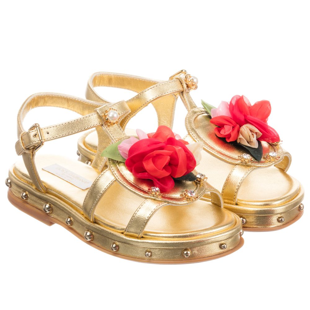 Dolceamp; Number Outlet Childrensalon Leather Gold 257552 GabbanaGirls Product Sandals DY2HI9WE