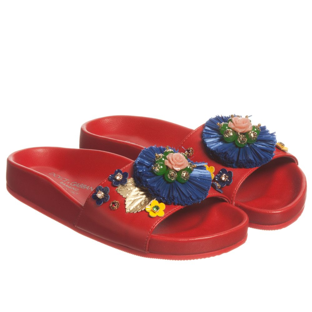 Sandals Number Slip Outlet Product Leather on 166040 GabbanaGirls Dolceamp; Red Childrensalon 6fb7gy