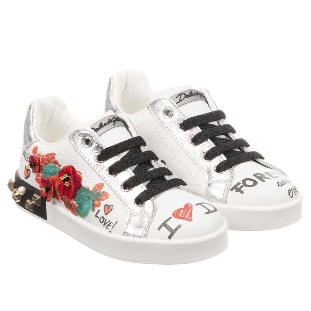 White Leather Floral Trainers