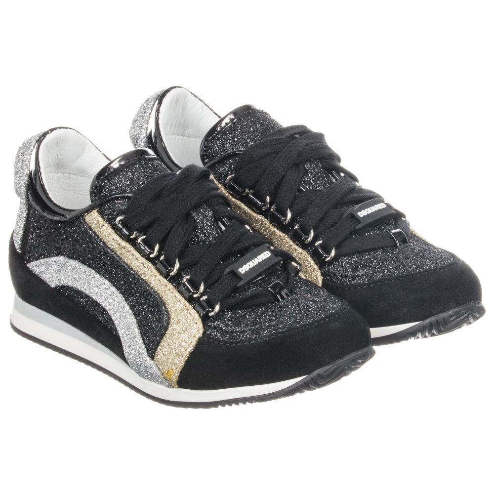 Trainers Outlet Number 188189 Suedeamp; Childrensalon Product Glitter Dsquared2Black WEe9DH2IY