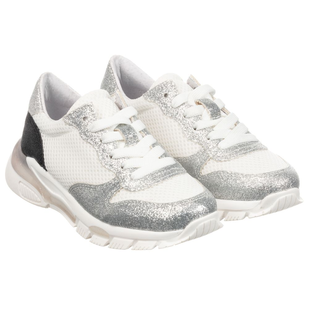 Elsy - Teen Silver \u0026 White Trainers