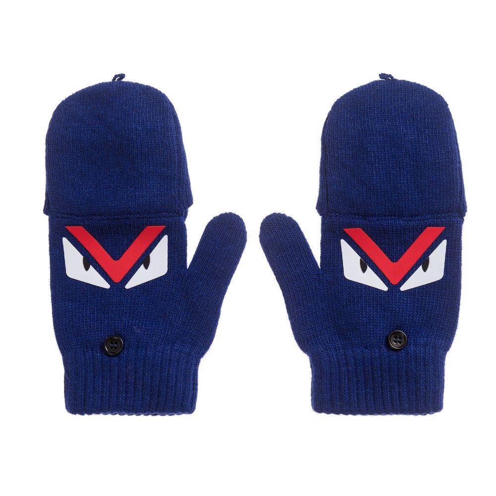 9e01a3c7 Fendi - Blue Wool Monster Gloves | Childrensalon Outlet