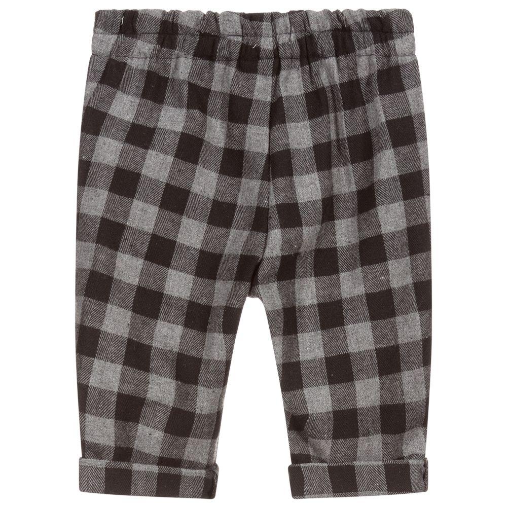 Harris Tweed Charcoal, Blue checked Trousers. | cwmenswear