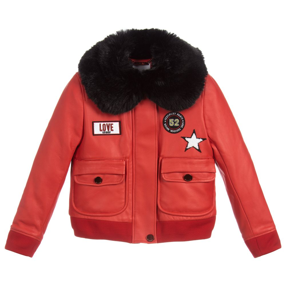 8d18ff61fdb8 Givenchy Kids - Girls Red Leather Jacket