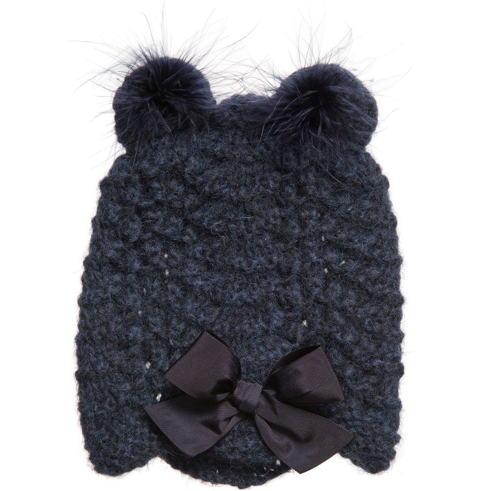 a58f73d1811 Grevi - Girls Blue Alpaca Knitted Hat with Ears
