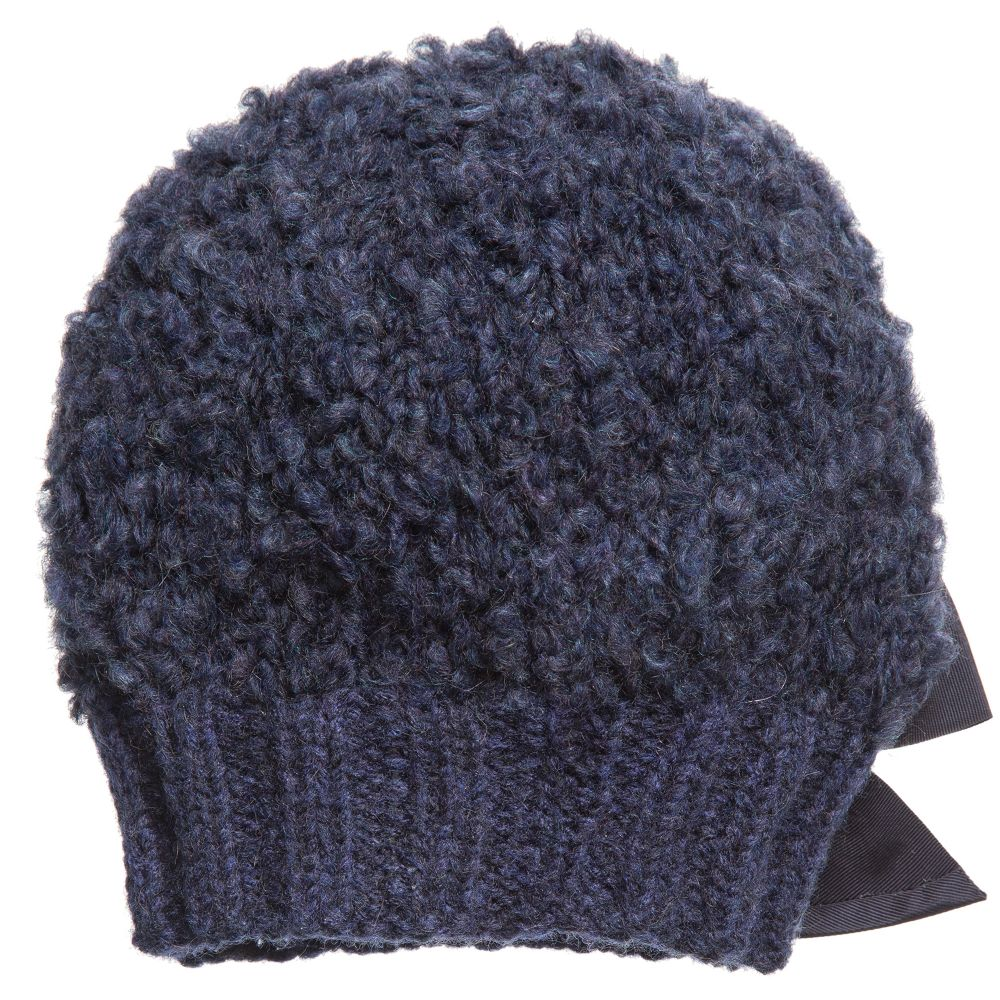 ae32c9d54ac Grevi - Girls Blue Mohair Knitted Hat