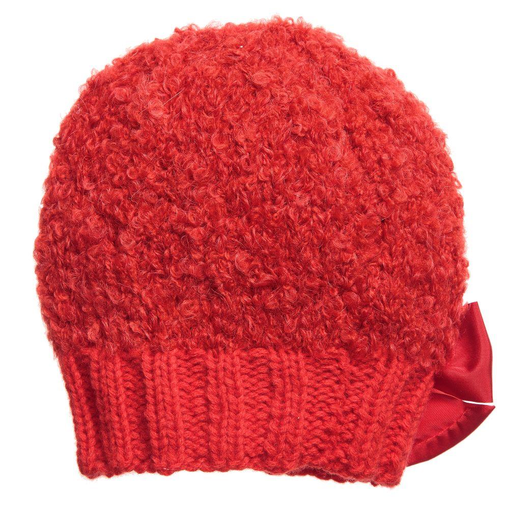 05cb3b3761c Grevi - قبعة صوف موهير محبوك لون أحمر للبنات