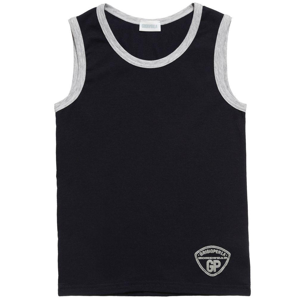 c3bf89aa5 Grigio Perla - Boys Navy Blue Cotton Vest