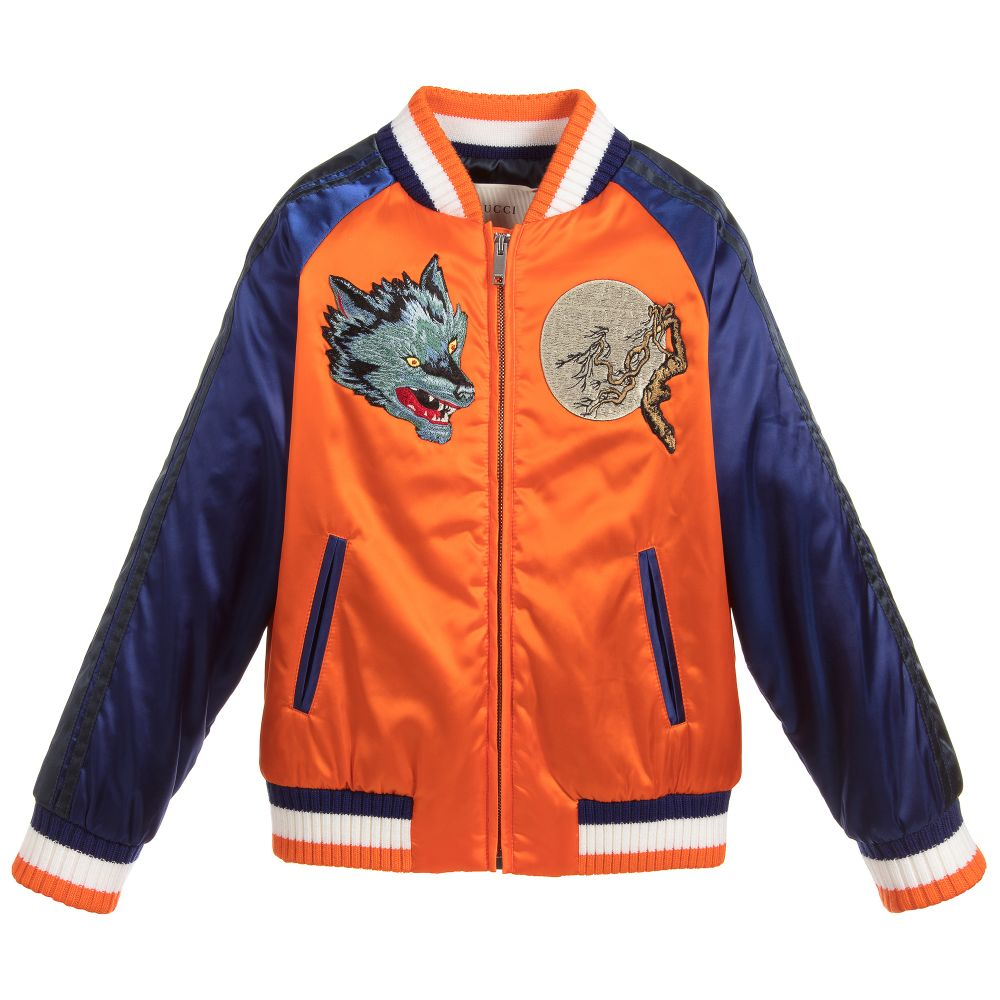 28fe1aa5 Blue & Orange Bomber Jacket