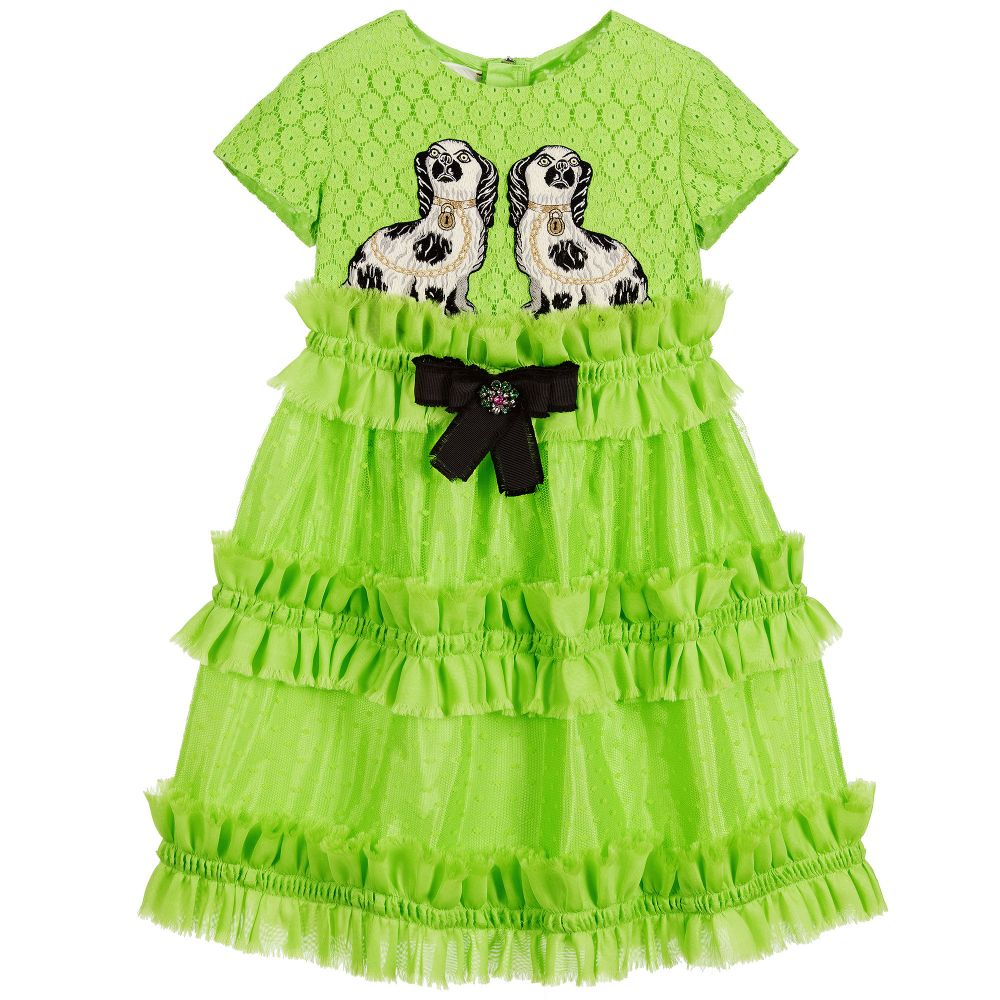 bd7369e3d Gucci - Girls Green Dress with Silk Ruffles | Childrensalon Outlet