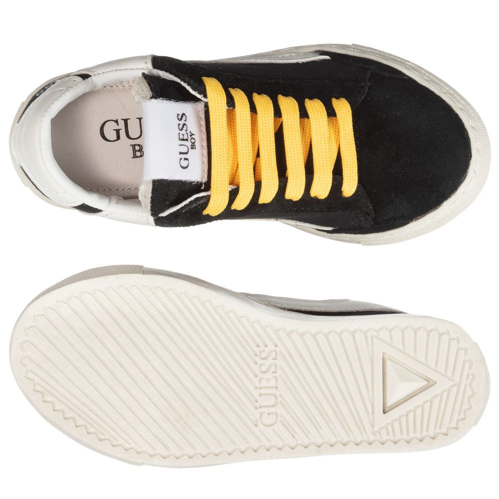 Guess - Boys Black Leather Trainers