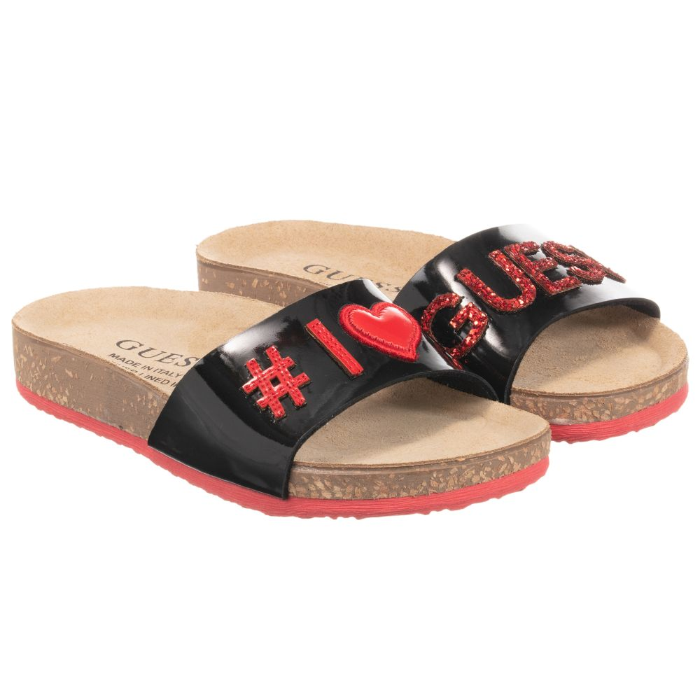 GuessGirls Blackamp; Childrensalon Number Sliders 242455 Outlet Red Product ED2Ye9HWI