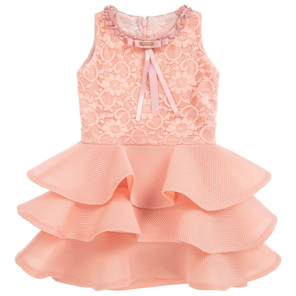 bf89082ca Junona - Girls Pink Lace   Mesh Dress