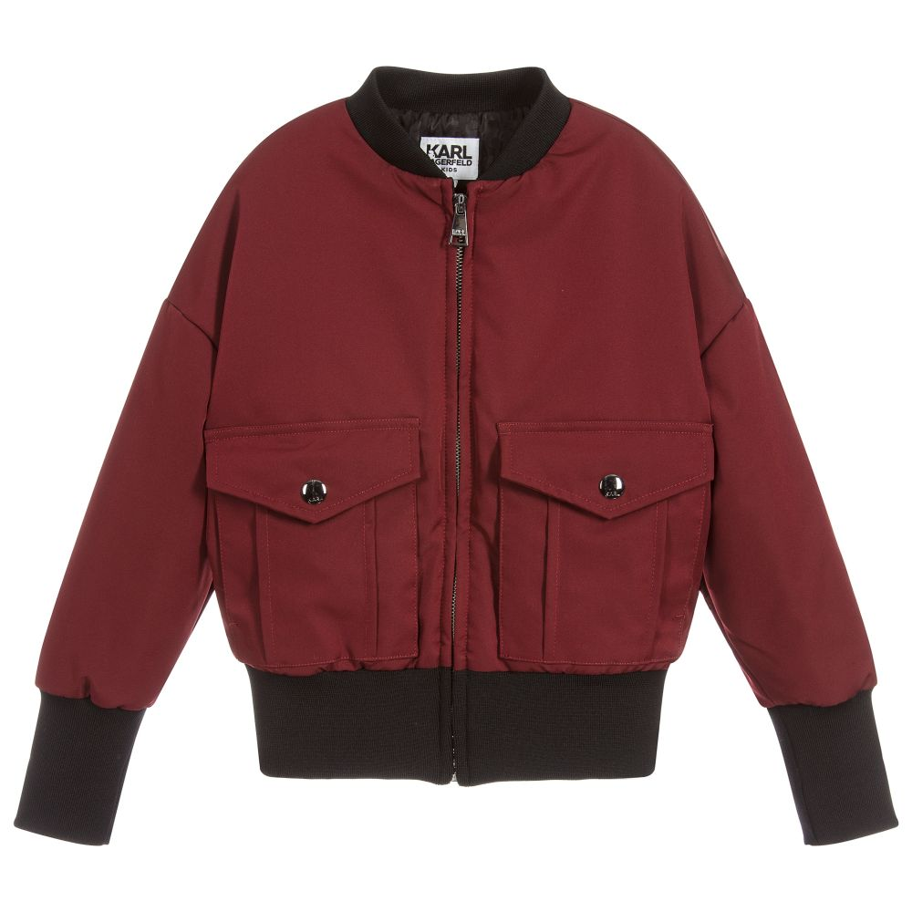 New KARL LAGERFELD Kids - Girls Red Bomber Jacket | Childrensalon Outlet #PJ14