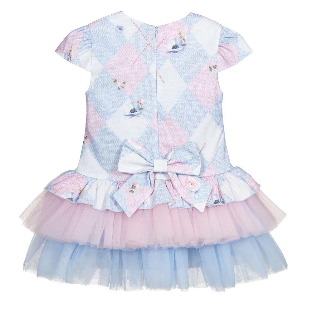 lapin house kleid in blau und pink für mädchen