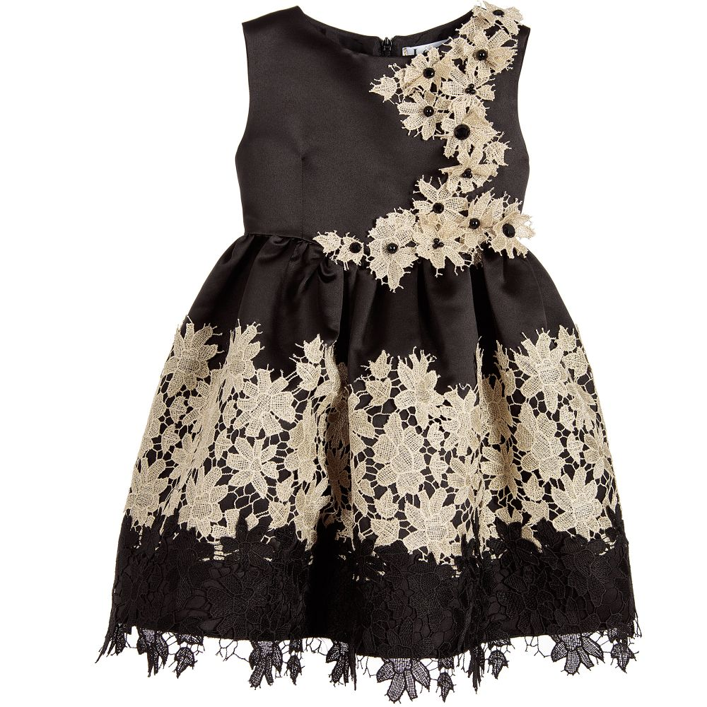 Black Satin Gold Floral Lace Dress