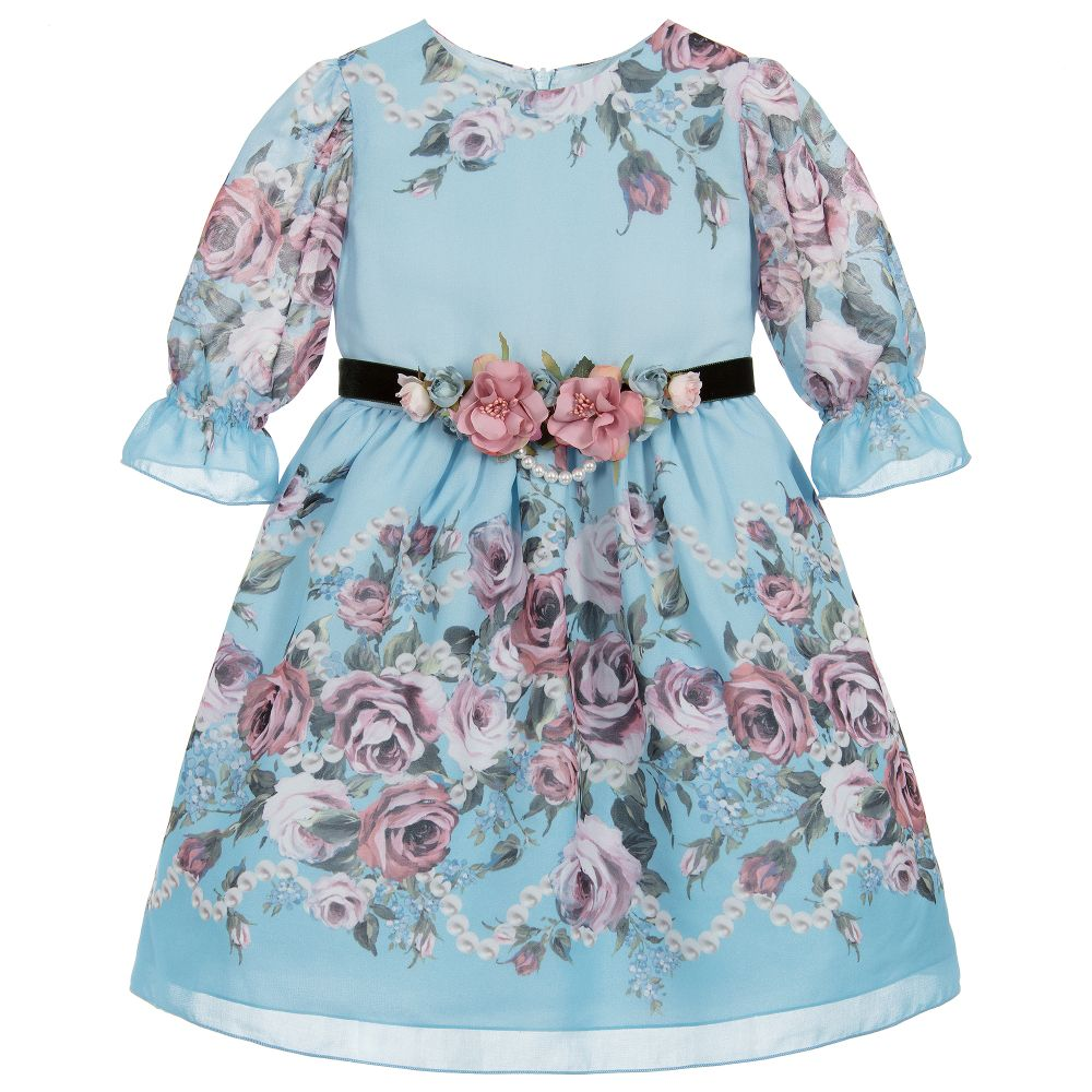 cd5839dfa2 Lesy - Blue Floral Chiffon Dress