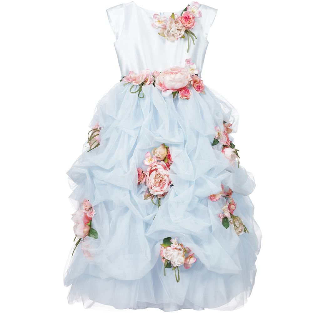 Lesy Luxury Flower Blue Tulle Luxury Long Dress Childrensalon Outlet