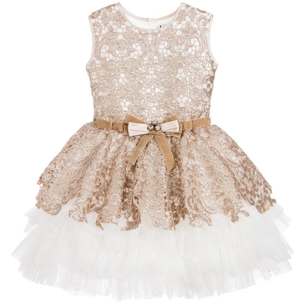 ce0df30b5 Lesy Luxury - Luxury Gold Sequin Lace   Ivory Tulle Dress ...