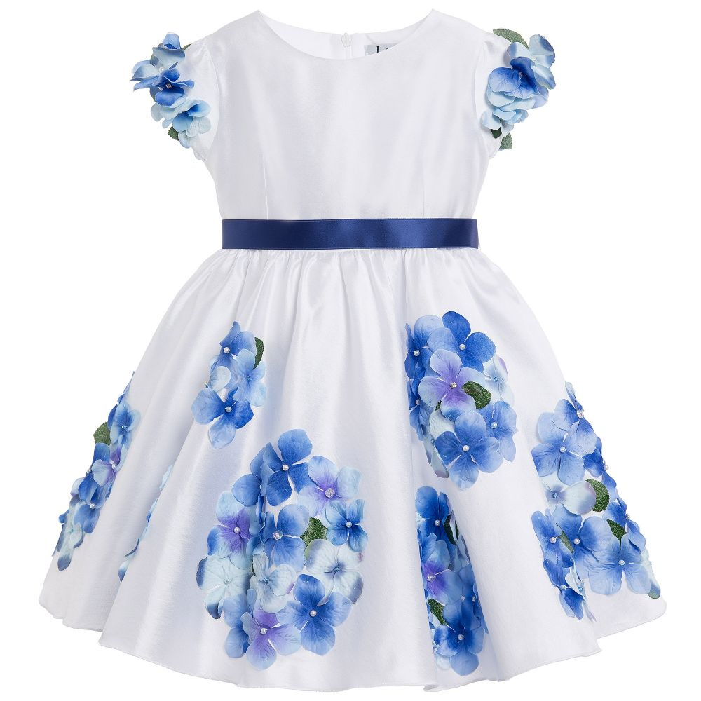 Lesy luxury flower white satin dress with blue flowers lesy luxury flower white satin dress with blue flowers childrensalon outlet izmirmasajfo