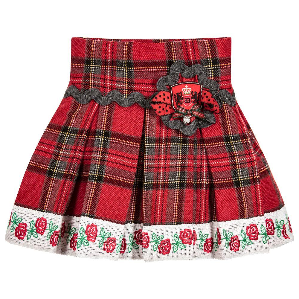 072d85bac32bd3 Little Darlings - Girls Red Tartan & Rose Skirt | Childrensalon Outlet