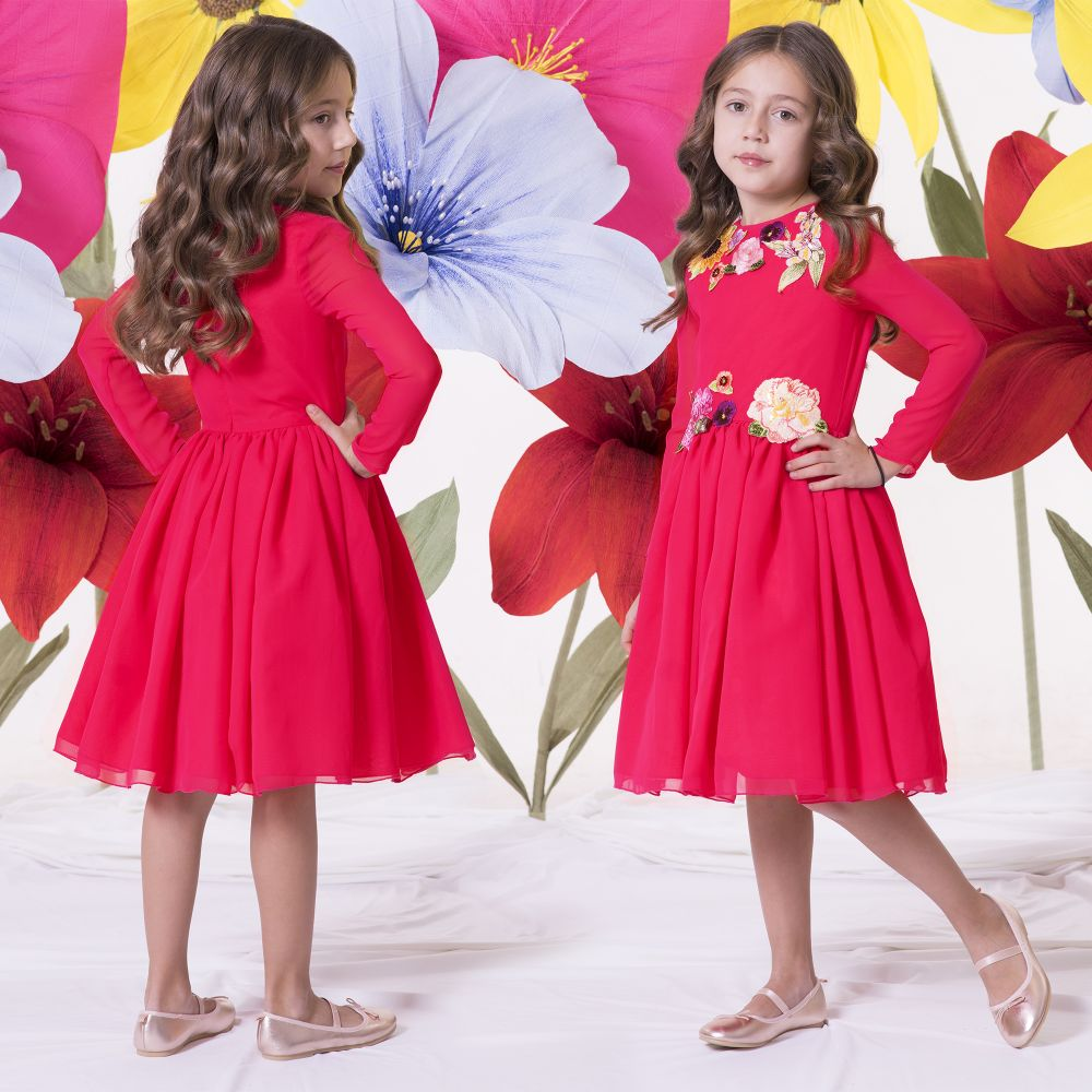 be8369c78984 Love Made Love - Girls Pink Chiffon & Tulle Dress | Childrensalon Outlet
