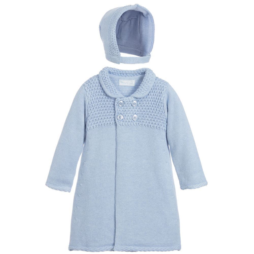 05210e517 Mayoral Newborn - Blue Pram Coat   Bonnet Set