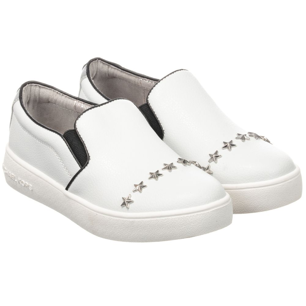 e0a071898a2f White Leather Slip-On Trainers