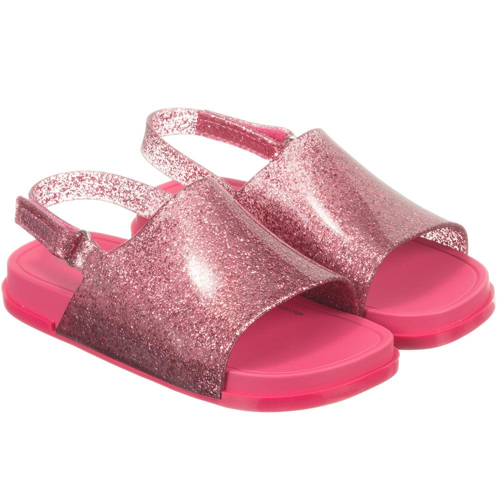 95b4d002c14c Mini Melissa - Pink Glitter Jelly Sandals