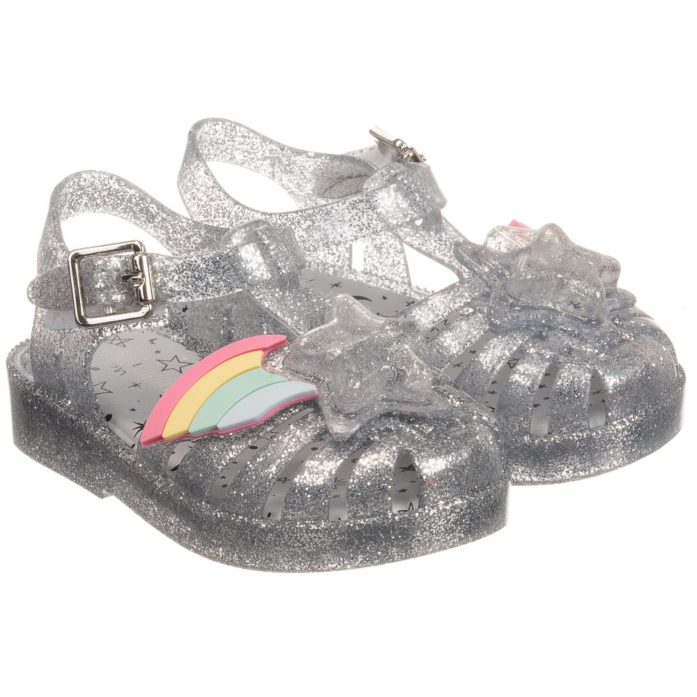 Childrensalon 246865 Outlet Product Rainbow Number Glitter Mini MelissaSilver Sandal gf76by