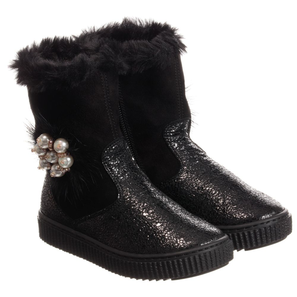 Number 224569 Childrensalon Black Outlet Product Leather MissouriGirls Boots qSVMUzp
