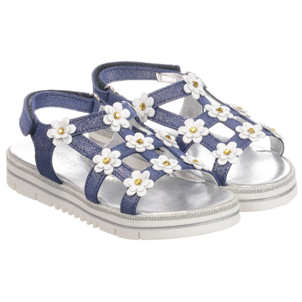 Leather Outlet 235107 Product Sandals Number MonnalisaBlue Daisy Childrensalon VqpzMSU