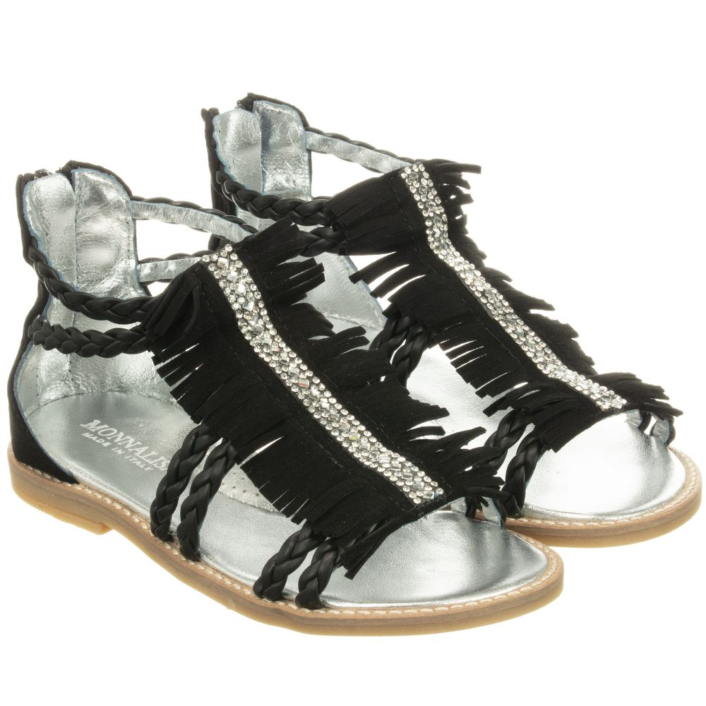 Product MonnalisaGirls 253796 Number Childrensalon Sandals Outlet Black Leather pUzqSMV