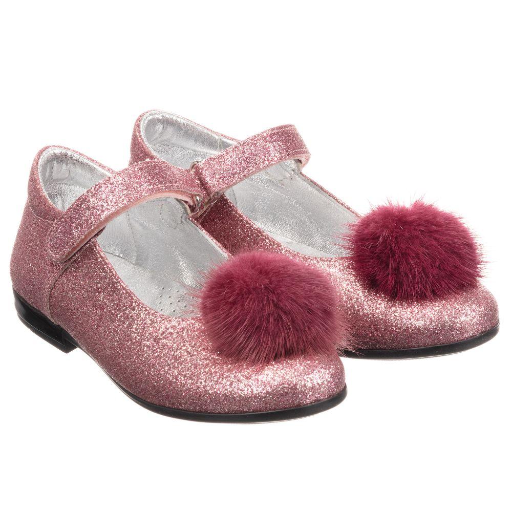 Monnalisa - Girls Pink Glitter Shoes