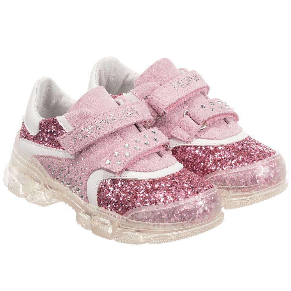 Monnalisa - Girls Pink Glitter Trainers