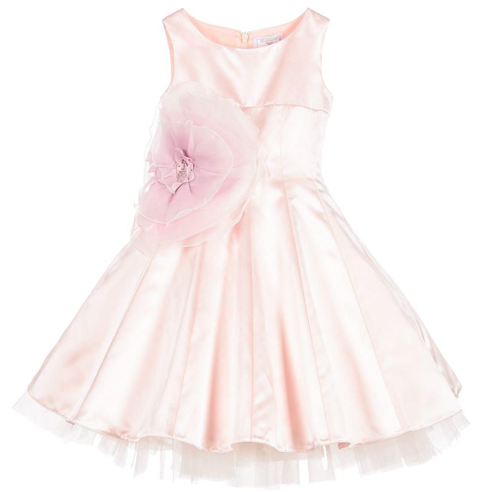 044229b2a Monnalisa Chic - Girls Pink Satin Dress with Floral Appliqué |  Childrensalon Outlet