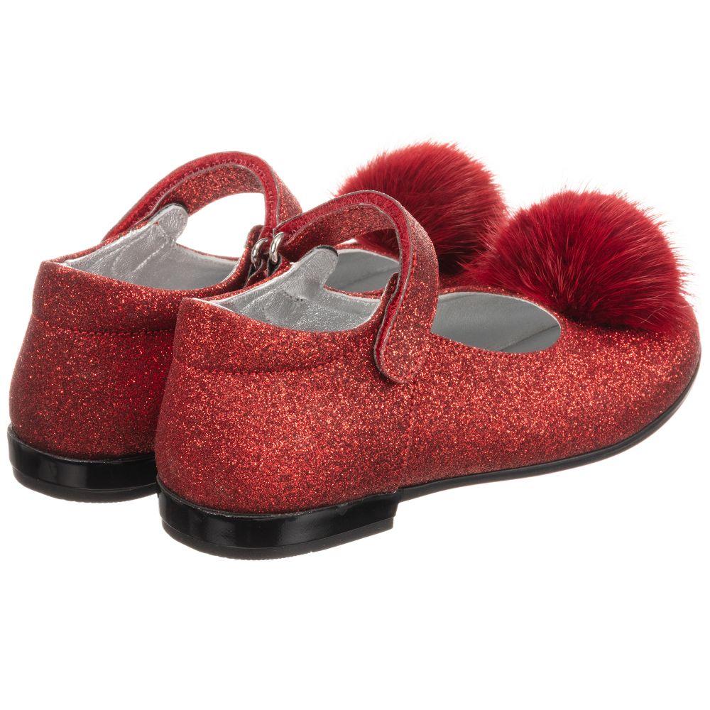 Monnalisa - Girls Red Glitter Shoes