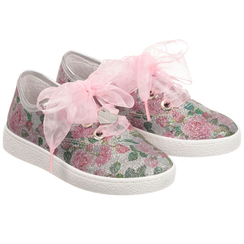 Silver MonnalisaGirls Trainers Floral Childrensalon Outlet 235118 Product Number 7ybf6gY