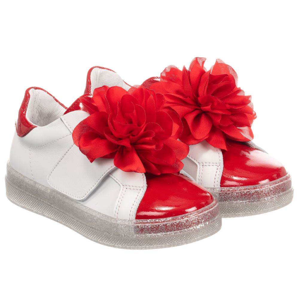 Product Leather Outlet MonnalisaGirls 253821 White Trainers Number Childrensalon PkZXlwuOiT