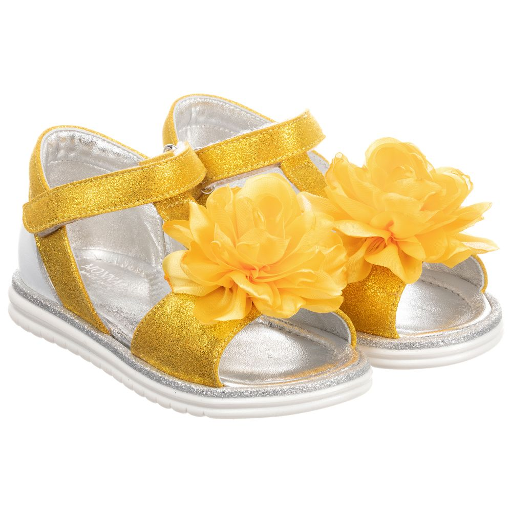 Childrensalon Outlet Product Sandals Number Leather 253831 Yellow MonnalisaGirls DEH2I9